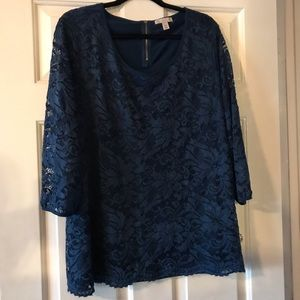 Peacock Blue Lace 3/4 Sleeve Top